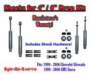 "Shock Kit for 99 - 06 Silverado Sierra w/ Spindles Drop Coils Flip Kit 4"" / 6"""