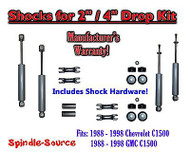 "Shock Kit for 88 - 98 Chevy / GMC C1500 w/ Spindles Drop Shackles Hanger 2"" / 4"""