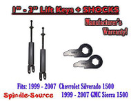 Torsion Level FRONT FORGED LIFT KEYS + SHOCKS 1999 - 06 Chevrolet GMC 1500 3in
