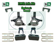"2015+ Silverado Sierra 1500 2WD 6"" / 4"" Lift Spindle Kit Shackles STAMPED / ALUM"