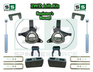 "15+ Silverado Sierra 1500 2WD 6""/4"" Lift Spindle Kit Shackle Shocks STAMPED ALUM"