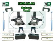"15+ Silverado Sierra 1500 2WD 6""/5"" Lift Spindle Kit Shackle Shocks STAMPED ALUM"
