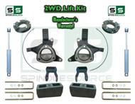 "2015+ Silverado Sierra 1500 2WD 7""/5"" Lift Spindle Kit Shackle Shocks STAMPED ALUM"