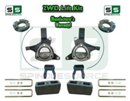 "2015+ Silverado Sierra 1500 2WD 7.5"" / 5"" Lift Spindle Kit Shackles STAMPED / ALUM"
