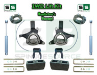 "2015+ Silverado Sierra 1500 2WD 7.5"" / 5"" Lift Spindle Kit Shackle Shocks STAMPED ALUM"