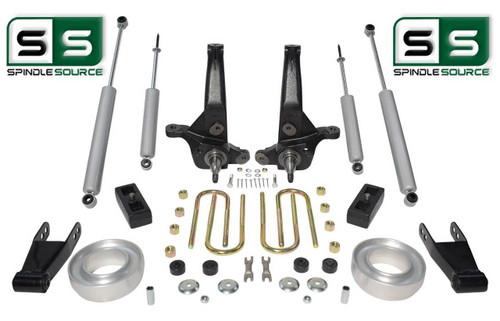 """01-10 Ford Ranger 2WD 7""""/4""""Lift Kit Spindles/Fr Spacer/Shackles/Blocks/4 Shocks"""
