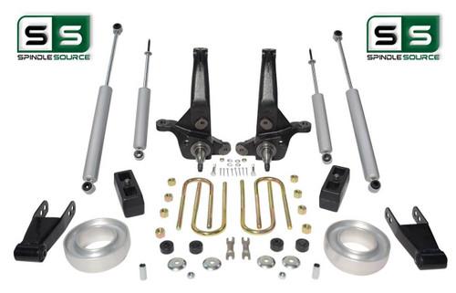 """01-10 Ford Ranger 2WD 7""""/5""""Lift Kit Spindles/Shackles/Blocks/Fr Spacer/4 Shocks"""