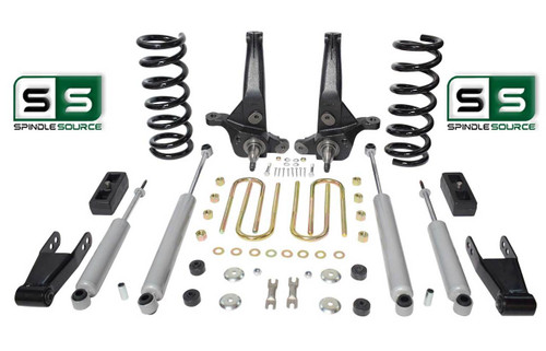 "01-10 Ford Ranger 2WD 7""/4"" Lift Kit 6 Cyl Spindles/Coils/Blocks/Shackle/4 Shock"