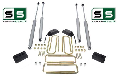 """2""""/2"""" LEAF PACK/BLOCKS/4 SHOCKS LIFT  1999-2004 FORD F250/F350 4WD W/4.0"""" AXLE"""