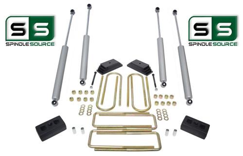 """2""""/2"""" LEAF PACK/BLOCKS/4 SHOCKS LIFT  1999-2004 FORD F250/F350 4WD W/3.5"""" AXLE"""