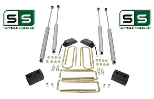 """2""""/3"""" LEAF PACK/BLOCKS/4 SHOCKS LIFT  1999-2004 FORD F250/F350 4WD W/3.5"""" AXLE"""