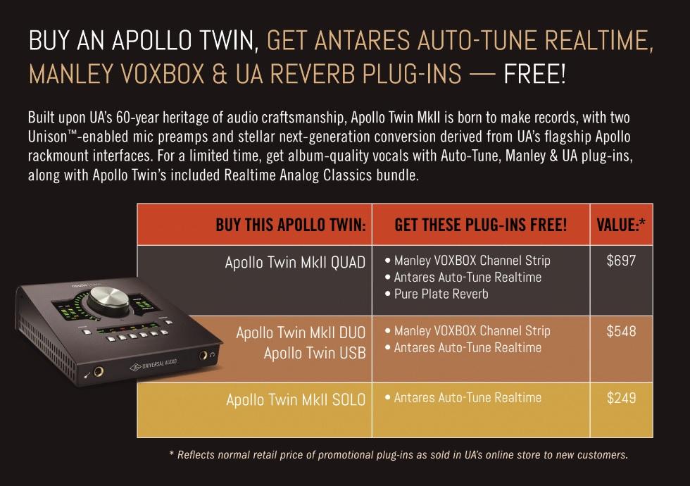 UA Apollo Twin Free Plug-Ins Promotion - Antares Auto-Tune, Manley
