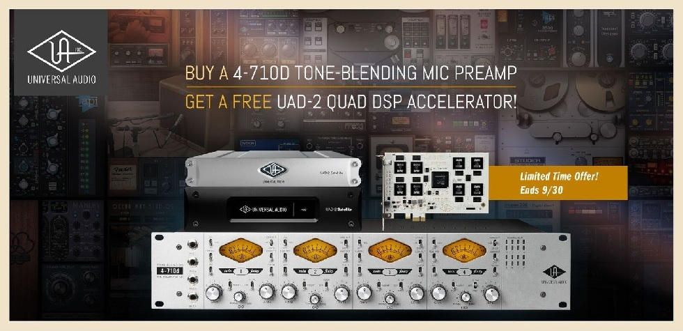 Free Universal Audio UAD-2 QUAD DSP with Purchase of 4-710d