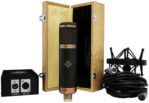 """Telefunken R-F-T CU-29 """"Copperhead"""" - wood box, shockmount, psu, and cable"""