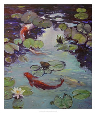 Red Koi & Lilies