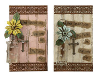 """Wood & Tin """"He Loves Me"""" Wall Plaque w/ Glass Vase & Flower"""