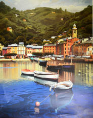 "Harbor at Last Night  Ramon Pujol  26""W X 36""H OD"