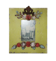Floral Metal and Wood Photo Frame