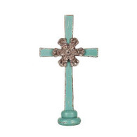 Wood Cross w/ Metal Flower