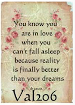 you know you are in love when you can't fall asleep...