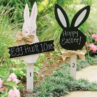 "Easter Yard Signs  Wood bunny yard signs  Burlap bowls and chalkboard  for personalization  White Bunny  30"" x 13""  Black Bunny   28"" x 11"""