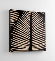 Aruba wall decor  23.75 x 23.75 x 1.75 d   Wood   leaves carved   black background