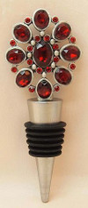Vintage Wine Bottle Stopper Red Flower
