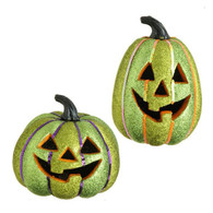 LIGHTED GLITTERED JACK O' LANTERN
