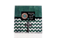 LARGE FRAME GREEN AND WHITE CHEVRON