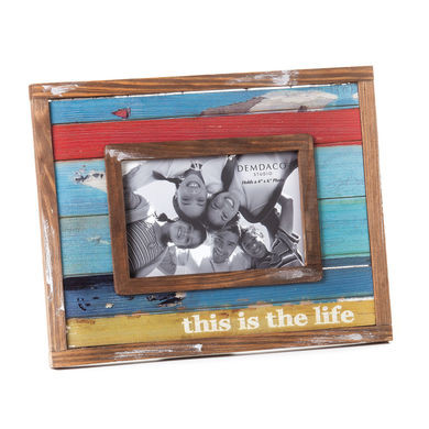 "This is Life photo frame  Materials: pine wood, glass Measurements: 8""h Holds 6.0 x 4.0 photos Seasonality: Everyday Sentiment: This is the life"
