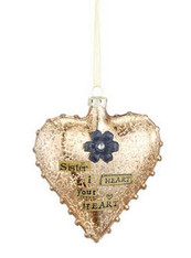 Sister Glass Heart Ornament