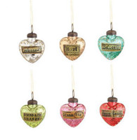 Mini Glass Heart Message Ornaments