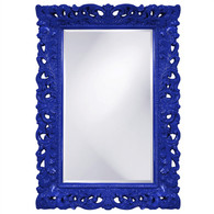 "This rectangular, Traditional mirror features an ornate open scroll work frame that is finished in a glossy royal blue lacquer.  Dimensions: 32"" x 46"" x 1""  Inner Dimensions: 23"" x 35""  UPC: 848635014166    Weight: 32.00  Material: Resin"