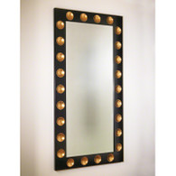 "Domino Mirror  Black with gold leaf   42"" W x 84"" H x 2"" deep   Hangs vertically or horizontally   Ships in two weeks"