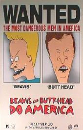 BEAVIS AND BUTT-HEAD DO AMERICA original issue rolled Advance 1-sheet movie poster