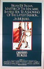 DRESSED TO KILL original issue folded 1-sheet movie poster