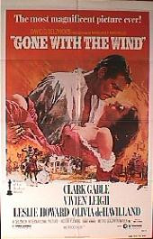 GONE WITH THE WIND original 1980 reissue folded 1-sheet movie poster