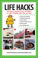 Life Hacks (The King of Random?s Tips and Tricks to Make Everyday Tasks Fun and Easy) by Grant Thompson, Instructables.com, 9781629145884