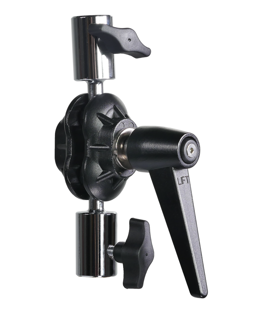"Double Ball mount - full articulation for endless mounting possibilities  1/4 20"" Female / Female  - Mount BladeLight To C-Stand or Light Stand."