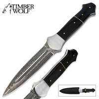 Timber Wolf Mosaic Damascus Dagger Knife