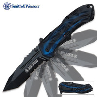 Smith & Wesson Black Ops Assisted Opening Pocket Knife Blue Tanto