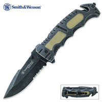 Smith & Wesson Border Guard Stonewash Folding Pocket Knife Serrated