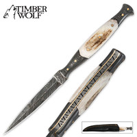 Timber Wolf Full Tang File Worked Damascus & Genuine Stag Dagger With Sheath