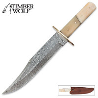Timber Wolf White Bone & Damascus Fixed Blade Bowie Knife