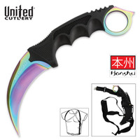 United Cutlery Titanium Rainbow Honshu Karambit With Shoulder Harness