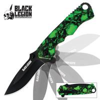 Skull Mayhem Assisted Opening Pocket Knife Green