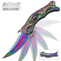 Iridescent Rainbow Flying Dragon Assisted Opening Folding Pocket Knife