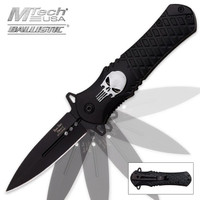 Dark Side Blades Silver Skull Assisted Opening Folding Pocket Knife