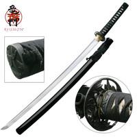 Ryumon 1095 Carbon Steel Bamboo Tsuba Katana Sword