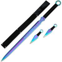 Ninja Attacker Titanium Rainbow Three Piece Warrior Blade Set With Sheath